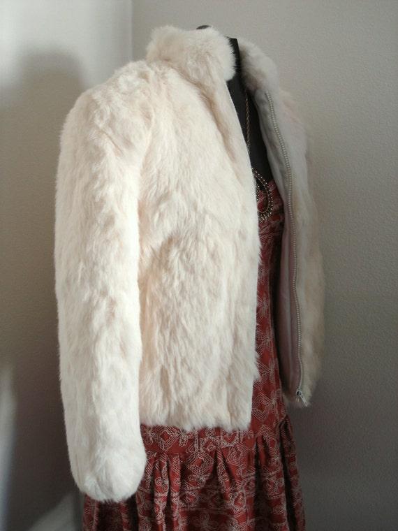 Vintage Cream White Women S Rabbit Fur Coat Or Jacket Size