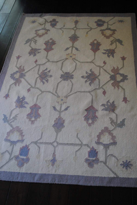 Vintage Dhurrie Or Kilim Rug Pastel Colors