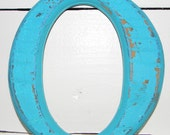 Distressed Number Zero Or Letter O  Aqua Cottage Chic  Wall Decor