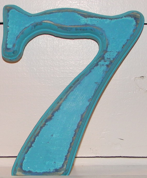 Distressed Wood Number 7 Cottage Beach Wall Decor