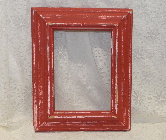 Farmhouse Red Picture Frame Vintage Reclaimed Wood Distressed Rustic Wall Decor