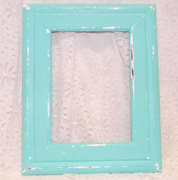 Distressed Aqua Picture Frame Cottage Chic Beach Wall Decor