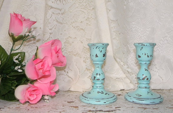 Cottage Chic Candle Holders 2 Pc  Distressed Blue French Country Home Decor