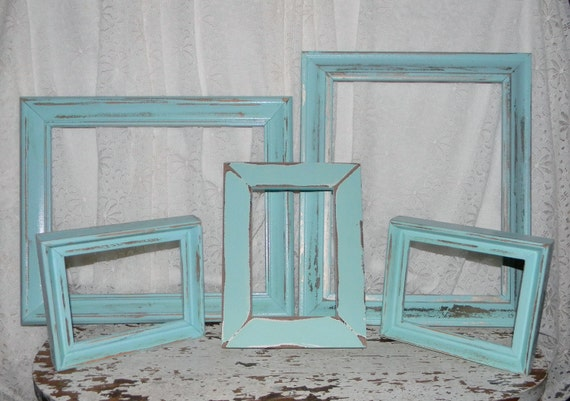 Cottage Chic Picture Frames Set Of 5 Ocean Breeze Blue  Distressed Wall Decor