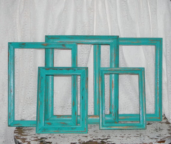 Distressed Picture Frames Set of 5 Turquoise Shabby Chic Home Decor