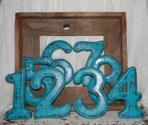 Distressed Numbers Beach Cottage Chic Wall Decor Birthday Photo Props