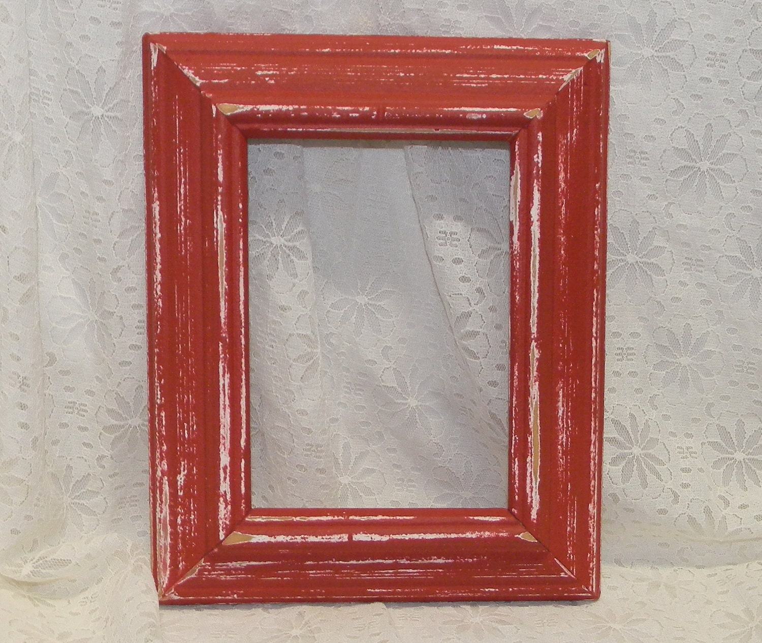 Farmhouse Red Picture Frame Vintage Reclaimed Wood Distressed