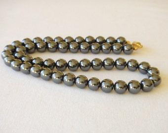 """Hematite Necklace Genuine Natural 8mm Grey Beads 20"""" Haematite MapenziGems"""