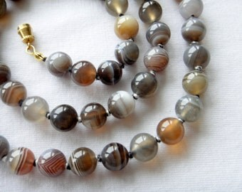 8mm Botswana Agate Necklace. 24 inches Long. Genuine Natural Stone. Multi Color Agate Stone Beads. Therapeutic Necklace. MapenziGems