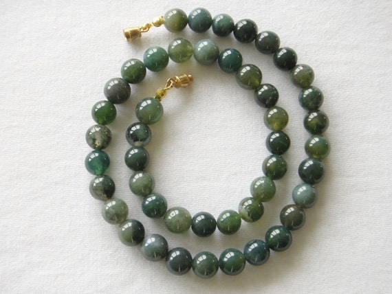8mm Moss Agate Necklace. Genuine Natural Stone. 16 inches Length. MapenziGems