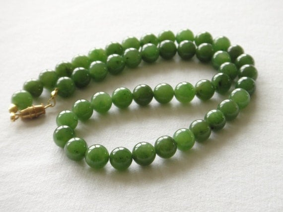 Vintage Jade Necklace 8mm Beads 20 inches. Grade 'A'. Green Beads. Natural Stone. Therapeutic Healing.  MapenziGems