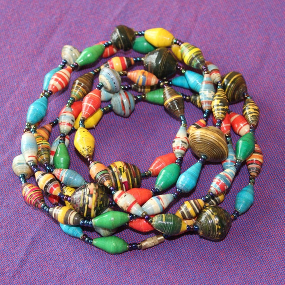 Multi Color Paper Mache Necklace. Extra Long Lariat. Papier Mache Beads. Ethnic Style. Paper Beads. Paper Marche PS03. MapenziGems