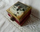 Unique OOAK Women's Jewelry box altered box vintage inspired ring box vintage button gold embossing tea time