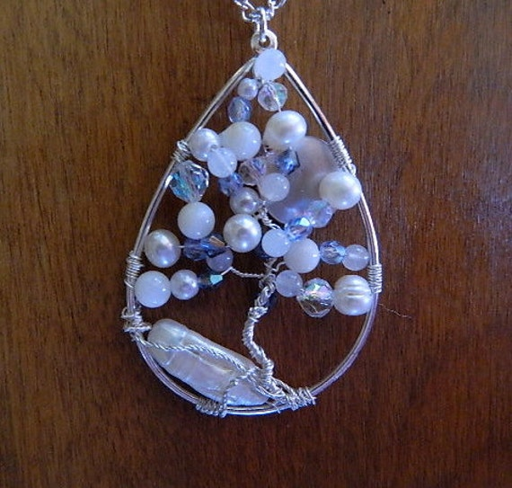 Women's Jewelry necklace tree of life snowy hill at night mabe pearl stone beads pearl beads crystals blue and white frosty moon
