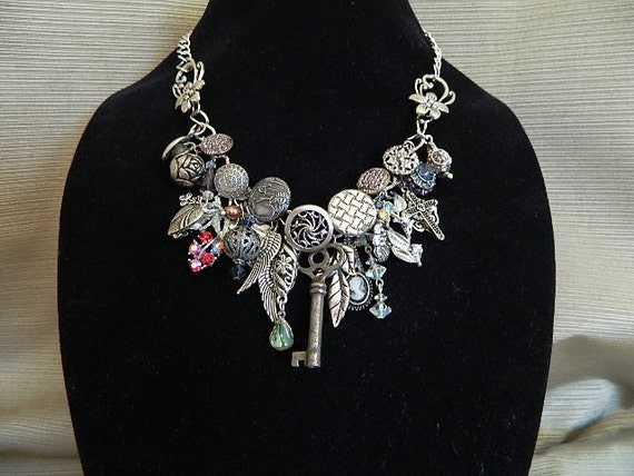 altered art chunky charm necklace women's jewelry vintage pieces newer pieces vintage buttons vintage inspired