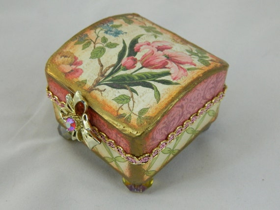 Re gifting box altered box presentation box  pinks and green flowers AB crystal footed and lined