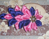 RESERVED for JULIANNE V Flower Hair Clip, Kanzashi Flower in Pink and Purple Satin Petals with Jewel on French Barrette