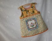 Recycled upcycled vintage fabric folkloric Dutch kitchen tile pinafore dress, baby dress, toddler dress, seventies fabric, boho, jumper