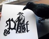 Pest - original hand-cut paper silhouette of the medieval plague doctor, black metal, death metal, doctor beak of Rome, paper cut