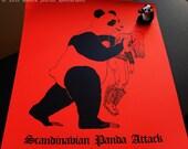 Scandinavian Panda Attack - 8.5 x 11 print on red paper from an original illustration of panda & black metal musician on paper, death metal
