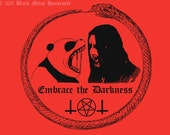 Embrace the Darkness - 8.5 x 11 red print from an original illustration of a cute panda & black metal musician screaming, snake occult Satan