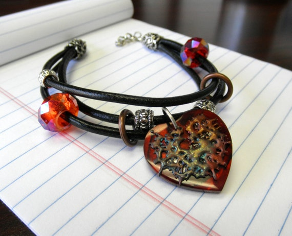 Copper Splash Red Heart Charm and Leather Multistrand Bracelet