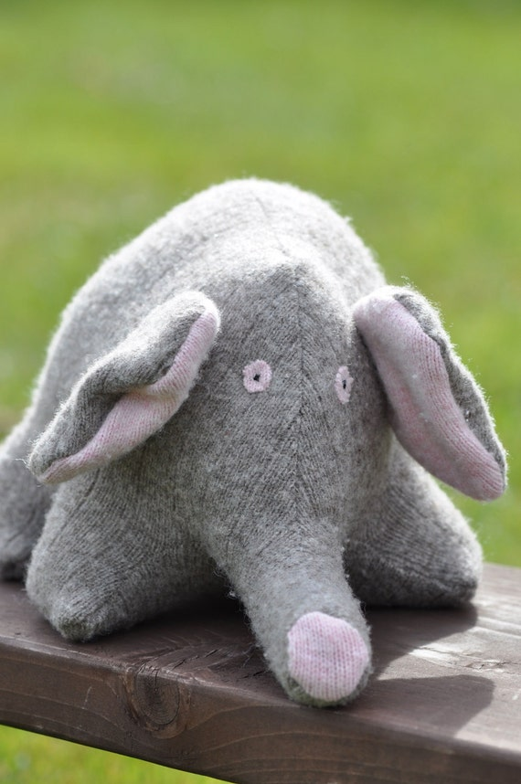Wool Elephant Stuffed Animal Made From Recycled Sweaters