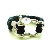 Black Pave Rhinestone Paracord Bracelet