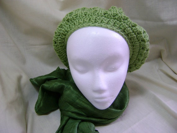 Green Crochet Beret or French Tam