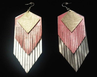 """Pink Lady """"Leather"""" Fringed Earrings"""