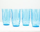 RESERVED for LAUREN  Beautiful Set of Four Vintage Aqua Blue Glasses