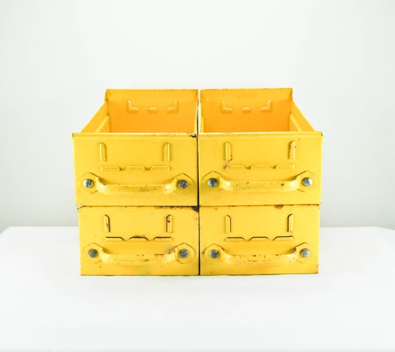 Treasury Favorite Four Vintage Bright Yellow Old Rusty Industrial Metal Storage Drawers