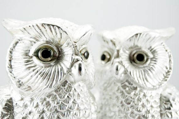 Two Unique & Lovely Vintage Silver Perched Owls