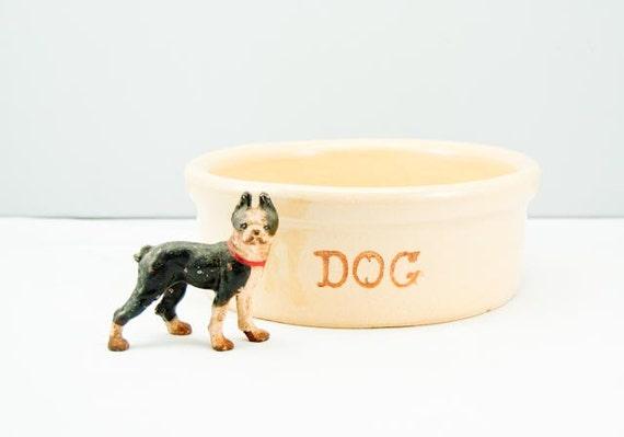 Large Classic Vintage RRPCo Stoneware Pottery Dog Bowl