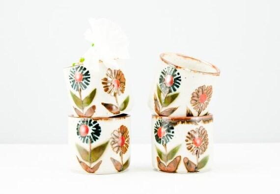Lovely Set of Four Vintage Autumn Colors Otagiri Pottery Saki or Tea Cups