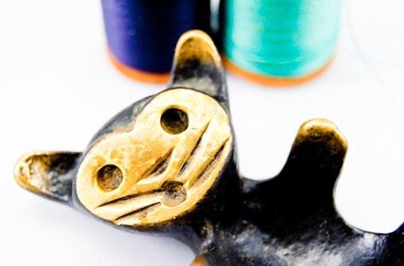 SALE Unique Vintage Brass Handmade Austrian Cat Figurine