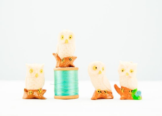 Adorable Set of Four Tiny Vintage Plastic Perched Owls