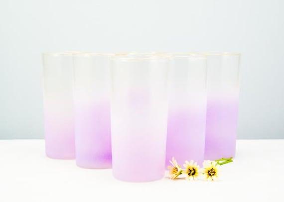 SUPER SALE 24 Hours ONLY Set of Six Vintage Lavender Blendo Frosted Glasses
