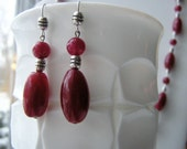 Necklace Earrings Red Serpentine Beads w/ Pearls & Silver