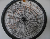 Knitted Black Spiderweb Halloween Decoration Goth Embroidered