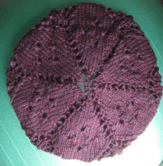 Purple lace knitted slouchy beret hat