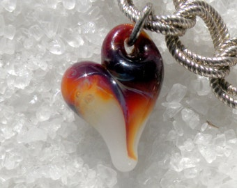 Heart Jewelry Charm Lampwork Hand Blown Boro Charm Amber Purple and White Mini Heart