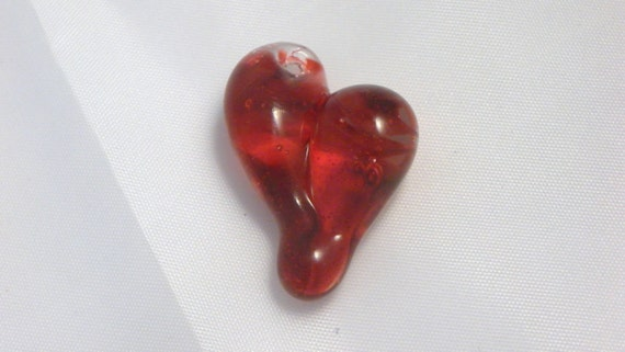 Heart Necklace Glass Jewelry Pendant Lampwork Hand Blown Boro Heart SRA Twisted red