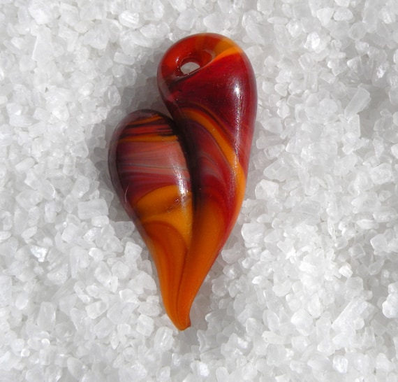 Heart Necklace Glass Jewelry Pendant Lampwork Boro Heart  Fiery Heart