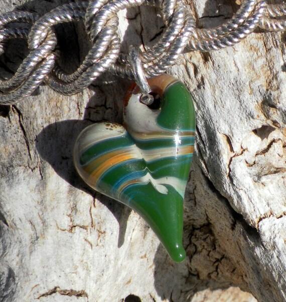 Glass Heart Charm Jewlery Green Carmel Mini Heart