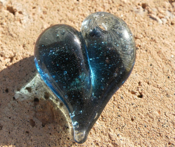 Glass Heart Pendant Jewelry Necklace Lampwork Blue Sparkle Boro Glass Heart