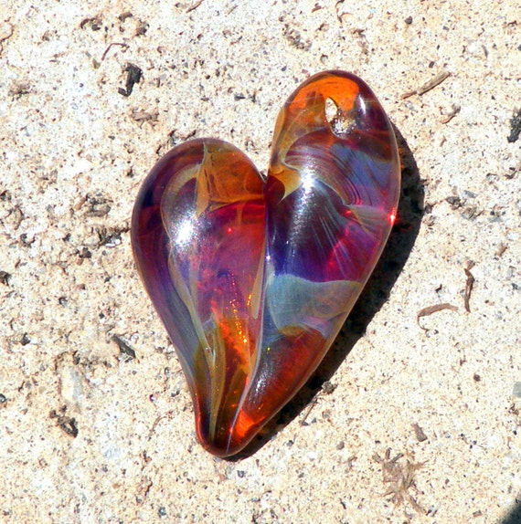 Glass Heart Pendant Jewelry Necklace Lampwork Hand Blown Boro SRA Heart Red Purple Blue HazeFree Shipping