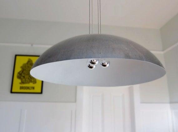 "Large 26"" Diameter Steel Dome Pendant Light, white"