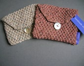 Knitted little clutch from recycled yarn, naturel colors
