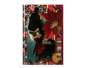 Journal Notebook Diary - Anthropologie Style in Dark Red, Blue, Black, & Yellow -  5 in by 7 in with 80 lined sheets.